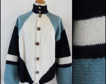 Mans French handknitted cardigan oversized chunky warm blue white cardigan size M/L