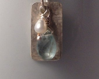 Aqua tourmaline, pearl and hammered sterling necklace
