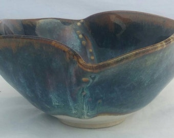Handmade free-form pottery bowl