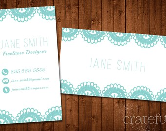 Lace Custom Printable Business Card- Business Card DIY Digital Download- Personalized Business Card- Modern Business Card