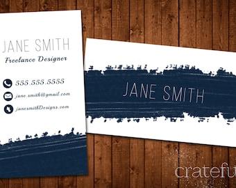 Paint Streak Custom Printable Business Card- Business Card DIY Digital Download- Personalized Business Card- Modern business Card