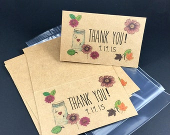 12 Autumn Thank You Candy Bags, Fall Wedding, Autumn Wedding, Thank You, Party Bags, Goodie Bags, Treat Bags, Thank You Toppers, Fall Topper