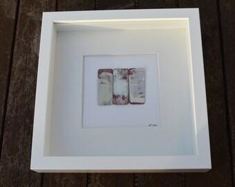White box frame enamelled copper tabs (cream/whites)