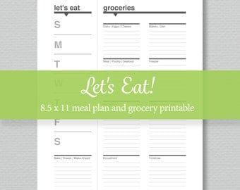 Weekly Meal Plan and Grocery List Printable -  Standard Letter Size - by SassyPlanners