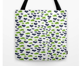 "Blueberry Mojito Tote Bag (13"" X 13"", 16"" X 16"", 18"" X 18""),Original,Foodie Couture,Mint,Green,White,Purple,Fruit,Beach Bag,Shopping Bag"