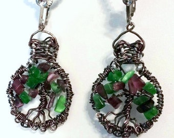 Rustic jewelry, tree of life, wire tree of life, tree of life jewelry, clip on earrings, purple earrings, green earrings, earrings handmade