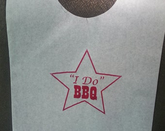 I DO BBQ -  Adult Disposable Event Bibs!  Pack of 25 - Wedding Bibs