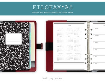 Filofax A5 Monthly and Weekly Planner ・ Composition Notebook Style + 2016 Calendar