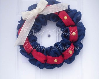 Marine Corps Wreath, Red burlap wreath, Blue burlap wreath