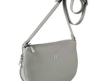 Leather Cross body Bag, Grey Leather Shoulder Bag, Women's Leather Crossbody Bag, Leather bag KF-266
