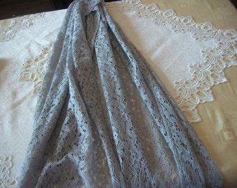 ZARA ***Delicate Lacy,Light Gray  Shawi * Large *