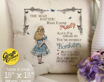 ALICE IN WONDERLAND Cushion Pillow Cover Mad Hatter Tea Party Bonkers