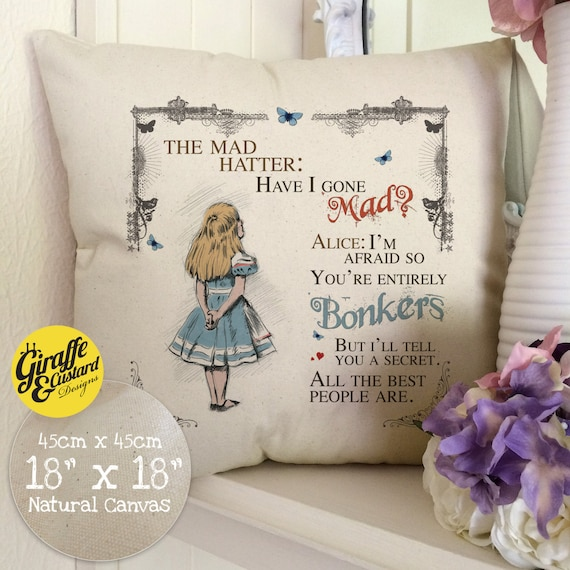 ALICE IN WONDERLAND Home Decor Large Cotton Canvas Cushion Cover Mad