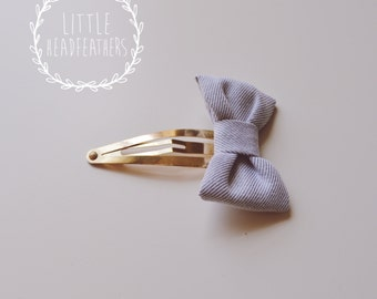 Mini Chambray Bow Clip