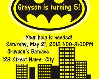 Gotham City/Batman Birthday Party Invitation