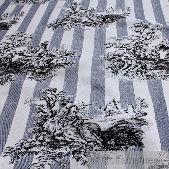 fabric cotton polyester tapestry dark blue toile de jouy. Black Bedroom Furniture Sets. Home Design Ideas