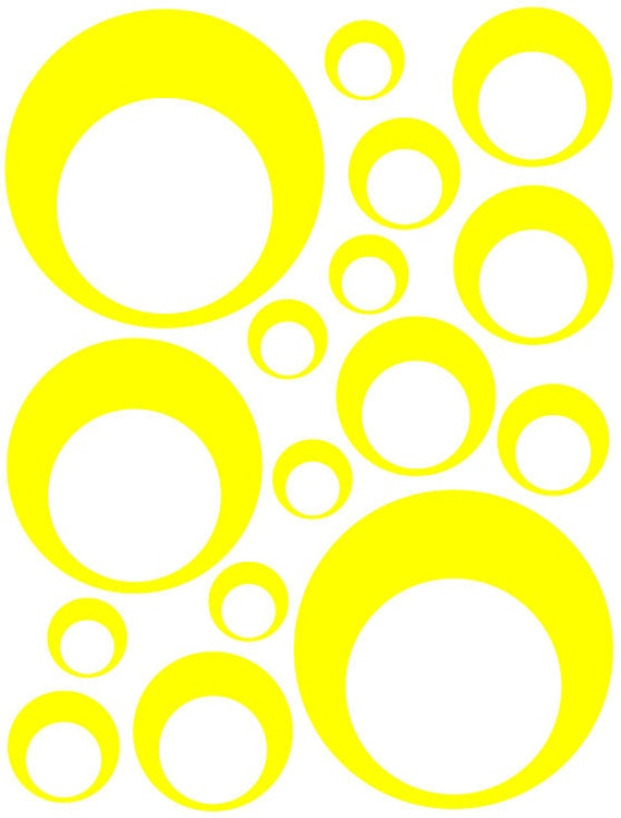 32 Yellow Vinyl Circle in a Circle Bubble Dots Bedroom Wall Decals Stickers Teen Kids Baby Dorm Room Removable Custom Made Easy Install