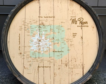 Mt. Rainier, WA Map Barrel End