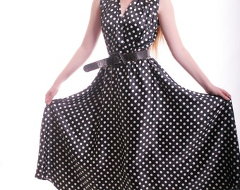 FREE US SHIPPING Elegance Becomes Me Polka Dot Vintage Dress Black White