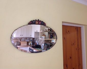 Lovely vintage shabby chic oval barbola mirror with bevel edge and hand painted gesso floral design. 1920/30's