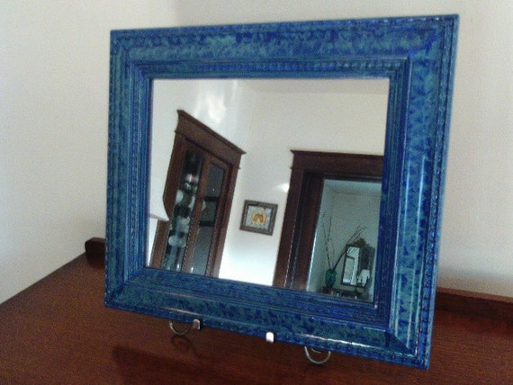 Mirror vinegar painted in blue