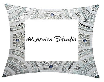 Mosaic White and Silver Bling  Mirror Kit-Set