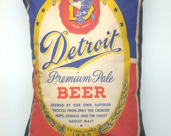 Vintage Detroit Beer Label Pillow Cover with Pillow Insert
