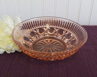Pink Glass Candy Dish, Vintage, Pink Glass Bowl, Pink