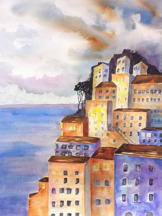 Italian Coast Original Watercolor Painting 12x16