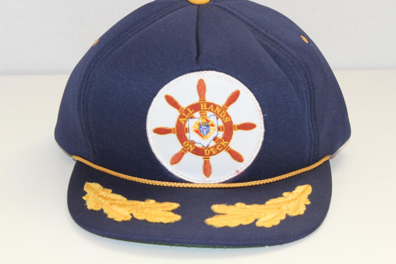 Vintage All Hands On Deck Captains Hat Nautical Captain Ball Cap