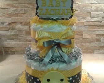 Yellow and Gray  Sunshine Diapers Cake