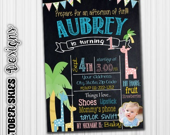 Giraffe Birthday Invitation, Baby Animals, Announcement, Any Age, Picture Card- Printable- Digital File