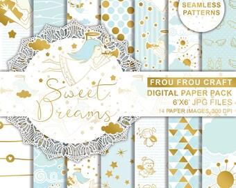 Nursery Digital Paper Pack Baby Boy Background Baby Scrapbook Sweet Dreams Sleeping Angels Seamless Patterns Blue Pastel Gold Cute DIY Pack