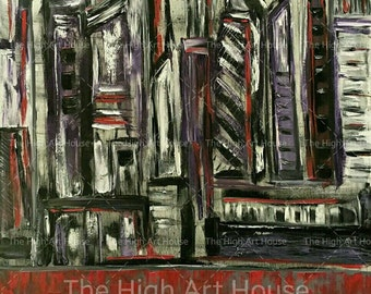 Dark City - 48 x 36 x 3/4 inch Large Original Abstract Oil Cityscape Painting