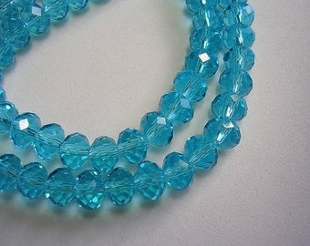 6mm X 8mm Aqua Blue Crystal Rondelles 8mm Faceted Blue Glass Shimmer Beads Clear Blue Crystal Rondelles Sparkly Blue Crystals 70