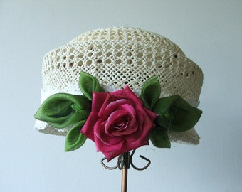 Hand made Green organza leaves and Pink English Rose  in a romantic style  and  abright vintage look hat.