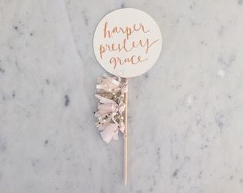 Cake Topper / Rose Gold Modern Calligraphy / Custom Hand Lettered/ Blush Pink Gold/ Mini Tassels Balloon / Birthday Wedding Baby Shower /