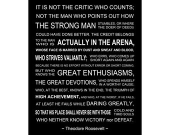 The Man In The Arena - Theodore Roosevelt Speech - Luster Paper or Canvas Wrap - Sizes (8x10) (11x14) (16x20) (18x24) (20x24) (24x30)