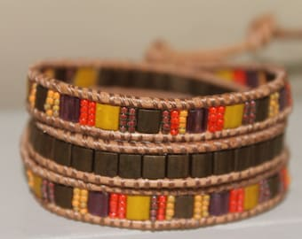 Bracelet wrap beaded leather bohemian wrap gypsy bracelet wrap bracelet trendy jewelry gift for her boho jewelry leather bracelet beads wrap