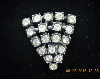 "Vintage Rhinestone Brooch Triangle 1-5/8"" x 1-1/4""  Vintage Jewelry//Triangle//Chevron//"