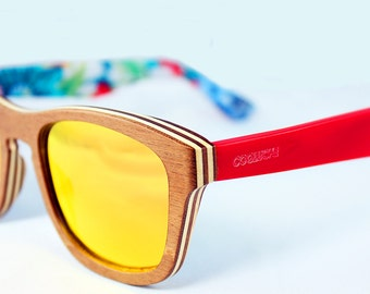 Wood sunglasses electric red temple with floral print, handmade