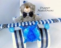 Unique Boy Diaper Cake - Airplane Diaper Cake - Unique Diaper Cakes - Unique Baby Shower Gift - Baby Shower Centerpiece