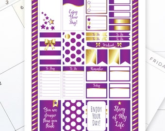 All Purple Pro Printable Planner Stickers for the Classic MAMBI Happy Planner