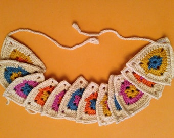 Crochet Triangle garland.Triangle shaped bunting. Beautuful Bunting