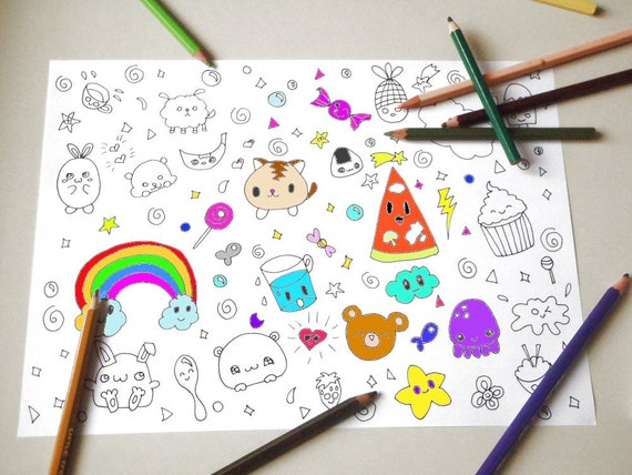 Kawaii disegno da colorare per bambini e adulti amanti for Immagini teschi disegnati