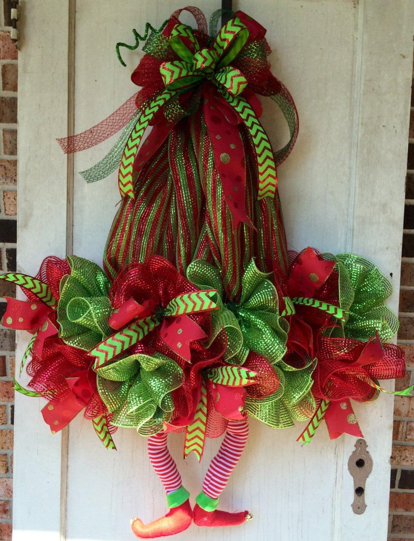 Christmas Wreath Elf Wreath With Legs Deco Mesh Wreath Elf Hat