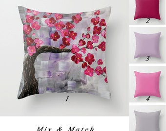 Cherry Tree Pillow, Solid Pillow Covers, Floral Red Pillow, Gray Pillow, Pink Pillow Art Pillow, Decorative Throw Pillows, Cushions
