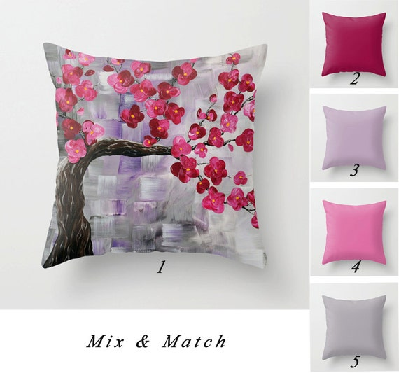 cherry tree pillow solid pillow covers floral