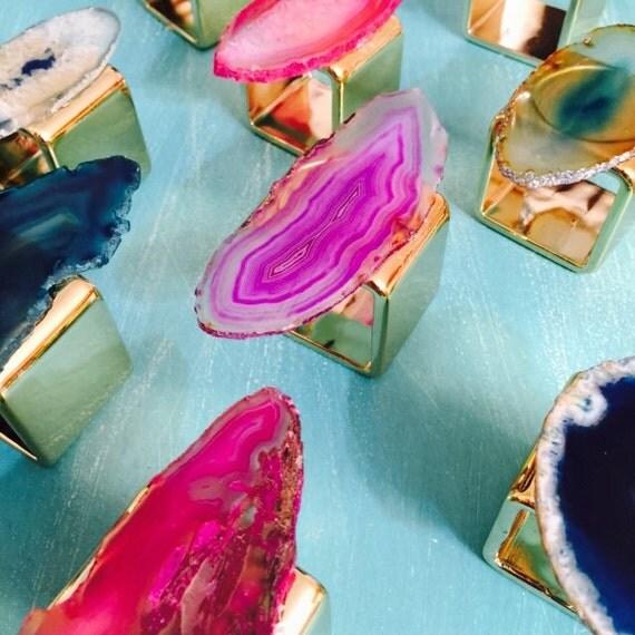 Agate Slice Napkin Rings