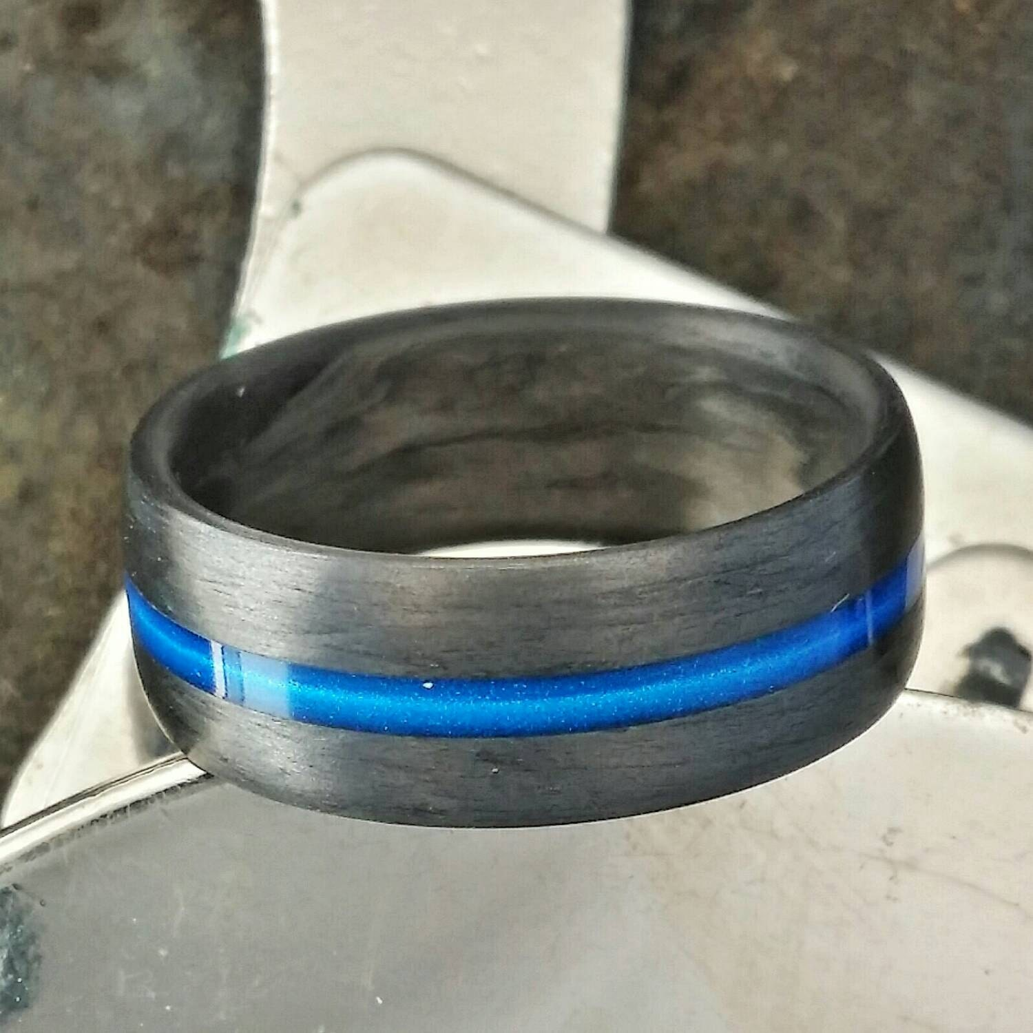 Thin Blue Line 7mm wide Carbon Fiber Ring Domed top